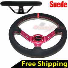 "JDM 350mm 14"" SUEDE LEATHER DEEP DISH Racing Steering Wheel RED Stitches RED"