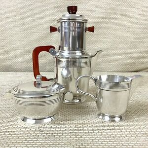 Original French Art Deco Coffee Set cafetiere filter Silver Plated Bowl Jug Pot