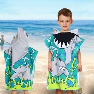Kids Hooded Poncho Bath Beach Pool Towel Children Soft Microfiber Bath Robe US