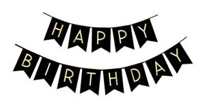 Happy Birthday Banner - Chic Garland - Black with Gold Foil Lettering w/ Ribbon