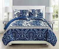 Fancy Linen Over Sized Quilt Bedspread Floral Navy Blue White All Sizes New