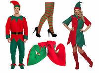 MENS LADIES ADULT CHRISTMAS ELF FANCY DRESS COSTUME SANTAS HELPER SHOES & TIGHTS
