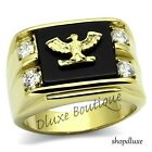 Men's 14k IP Gold Stainless Steel AAA CZ US American Eagle Military Ring Sz 8-14