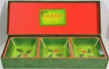 """Department 56 Candlelight Holly Divided Dish 16.25"""" long by 5.75"""" wide by 2"""""""