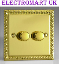 GEORGIAN POLISHED BRASS ROPE EDGE 2 GANG 1 WAY DOUBLE WALL LIGHT DIMMER SWITCH