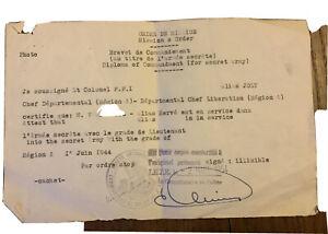 Documents FFI Certificat Ordre Mission Document Sureté Nationale Armée Secrète
