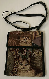 Danny K Beverly Hills Floral Tapestry Crossbody Shoulder Bag /wallet Purse Cats
