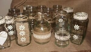 Shabby Chic Rustic Wedding Centrepieces 14 Jars ideal for flowers or Candles