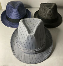 Lot Of 3 Fedora Hats Polyester Adult M/L 3 Different Colors - Blue, Gray, LGray