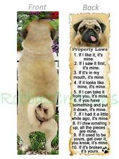 PUG BOOKMARK DOG Tail RULES Property LAWS Book Mark Card Ornament Figurine Fawn