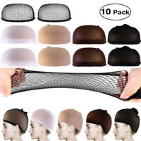 PIXNOR 10pc Wig Cap Liner Wig Stocking Cap Black/White/Brown/Beige Nylon Stretch