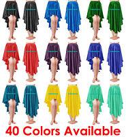 Satin Asym Skirt Flamenco Belly Dance Gypsy Ruffle Jupe High Low Maxi Asymmetric