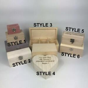 Small Personalised Engraved Wooden Keepsake Trinkets Painted Wood Gift Boxes