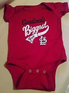 ST LOUIS CARDINALS BABY OUTFIT 1 PC 6 MOS NWOT BIGGEST FAN RED WHITE BASEBALL.