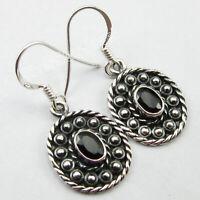 Solid Sterling Silver Women Stone Jewelry Black Onyx Dangle Earrings 3.2 cm
