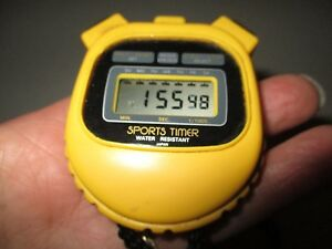 NEW BATTERY Yellow Plastic WATER RESISTANT Date Time SPORTS TIMER Stopwatch