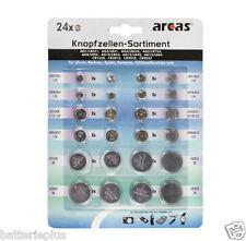 Knopfzellen Set Sortiment 24-teilig für Uhren Schlüssel Taschenrechner Kameras