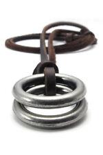 collar joyeria hombres y mujeres, colgante anillo con cadena cuero, marron N9B3