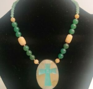 Lee Sands Signed Necklace Mother of Pearl Shell Cross Religious Spiritual VTG