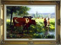 Hand painted Old Master-Art Antique Oil painting Animal Portrait cow on Canvas