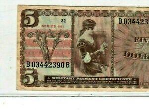 "$5 (RARE) ""MILITARY PAYMENT CERTIFICATE"" SERIES 661 $5 (MPC) RARE ITEM!! NICE!!!"