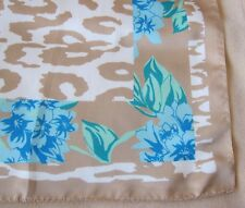 "VINTAGE ITALIAN FLORAL AND ANIMAL PRINT POLYESTER SCARF - 34"" X 35"""