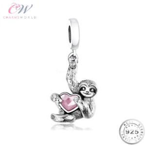 Sloth Charm Genuine 925 Sterling Silver & Pink CZ 💞 Gift Animal Lover