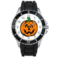 Halloween Pumpkin Black Jelly Silicone Band Mens Ladies Sports Wrist Watch S932E