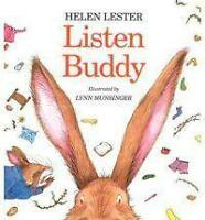 LISTEN BUDDY by Helen Lester FREE SHIPPING children's paperback book bunny