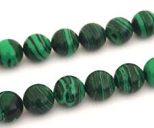 """Piedras preciosas de Malaquita 16"""" 10 mm redonda con cuentas UK Seeler"""