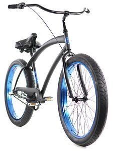 Zycle Fix Cobra Beach Cruiser 3 Speed Bicycle Bike Black Blue NEW