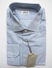 $650 BRIONI Soft Linen Cotton Blue Striped Dress Shirt Size 16 US 41 Euro