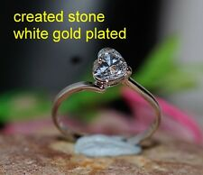 0.8ct 5mm heart single DIAM0ND ring size L 6