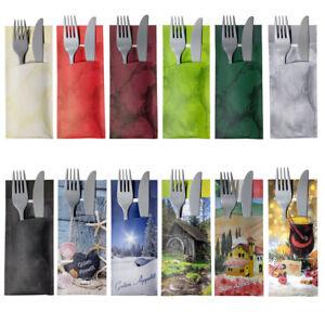 Bestecktaschen mit Servietten viele Farben und Dekore für Privat und Gastronomie