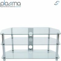 Stealth Mounts 1000mm Clear Glass & Silver Legs TV Stand for TVs up to 50""