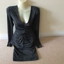 "Stunning Ted Baker black silver glitter dress size 2 12 30"" waist eve party club"