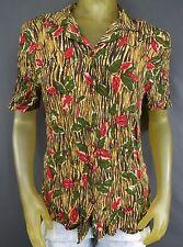 California Krush Women Button Down Leaves Bamboo Small Shirt Blouse USA Made B6