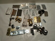 Large lot of Door Hardware: Handles, 19 hinges, strikes, and more