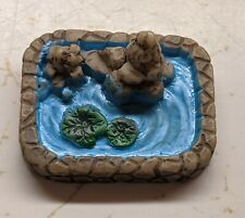 New listing Resin Fairy Garden Miniature Teeny Tiny Pond w/ Frogs & Lily Pads 2.5cm Across