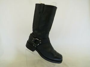 Harley Davidson Black Leather Harness Cowboy Riding Motorcycle Boots Mens 8.5 M
