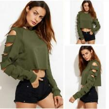 Women's Long Sleeve Sweatshirt Blouse Punk Pullover Jumper Casual Crop Top Shirt