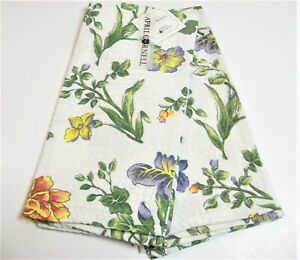 Set/2 April Cornell Cotton Kitchen Tea Towels Floral Multi on Ivory - NEW