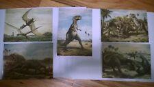 "Vintage Postcard "" DINOSAURS PICS.""Set of (5) ,, Made in CZECHOSLOVAKIA?."