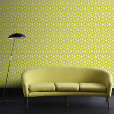 Designer Funky Flora Geometric Flocked Lime/Ice Wallpaper (Was £80)
