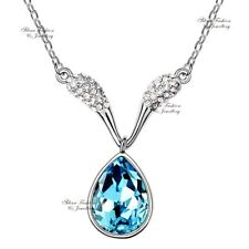 18K White Gold GF Made With Swarovski Crystal Aquamarine V Teardrop Necklace