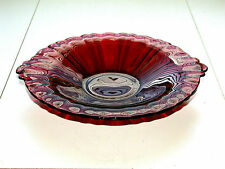 Beautiful Vintage Art Glass Ruby Red Two Handle Bowl