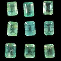 9 Pcs Colombian Emerald Natural 6.7mm-7.3mm Emerald Cut Gemstones Wholesale Lot