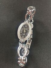 D&G Dolce & Gabbana Silver Diamante Chain Bracelet Black Sun Dial Quartz Watch