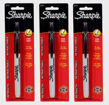 3 Sharpie Retractable Black Fine Tip Permanent Marker No Cap 1pk Non Toxic 32721
