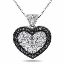 Amour Sterling Silver Black Diamond Accent Heart Locket Necklace